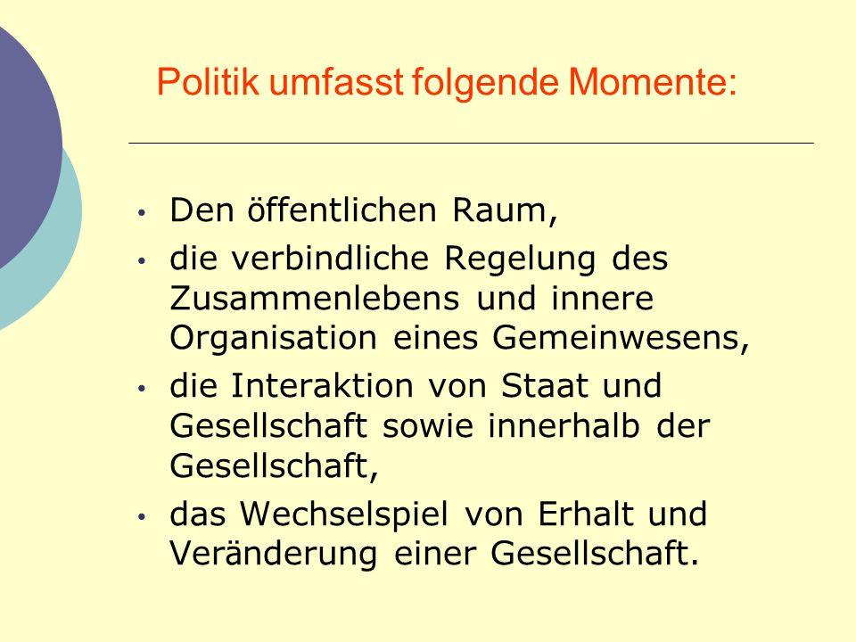 Politik umfasst folgende Momente: