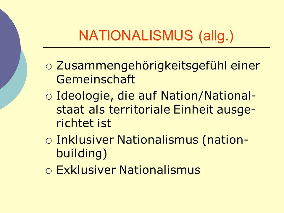 NATIONALISMUS (allg.) Zusammengehörigkeitsgefühl einer Gemeinschaft