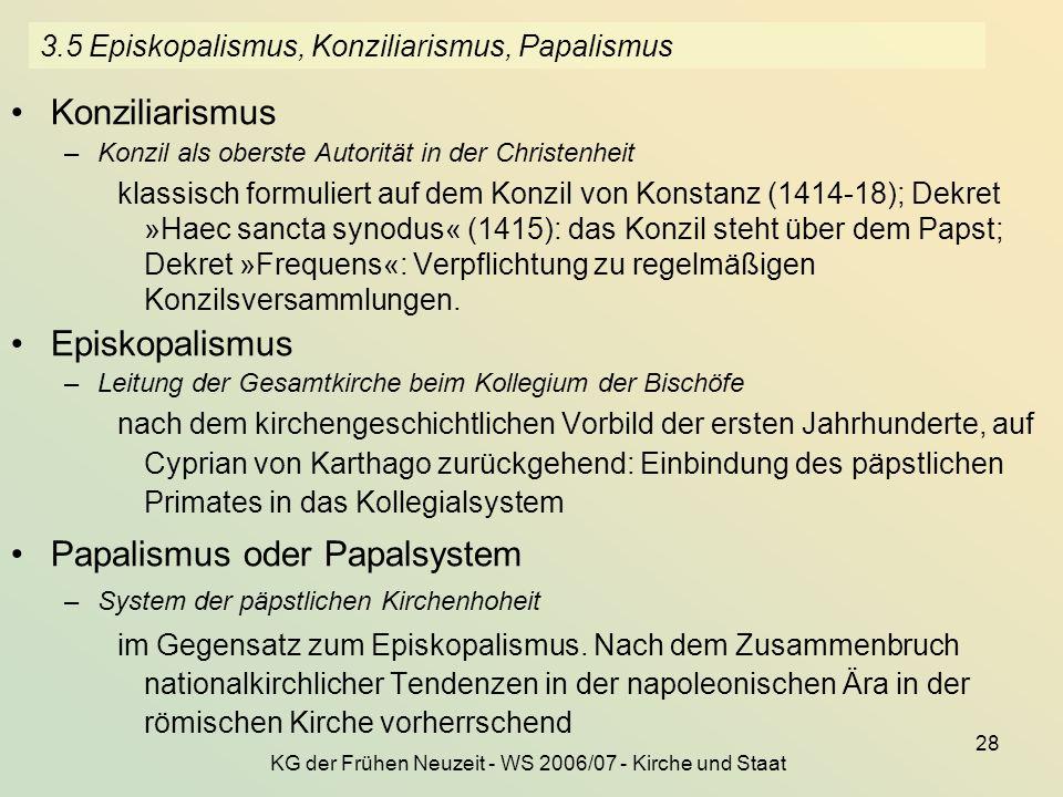 3.5 Episkopalismus, Konziliarismus, Papalismus