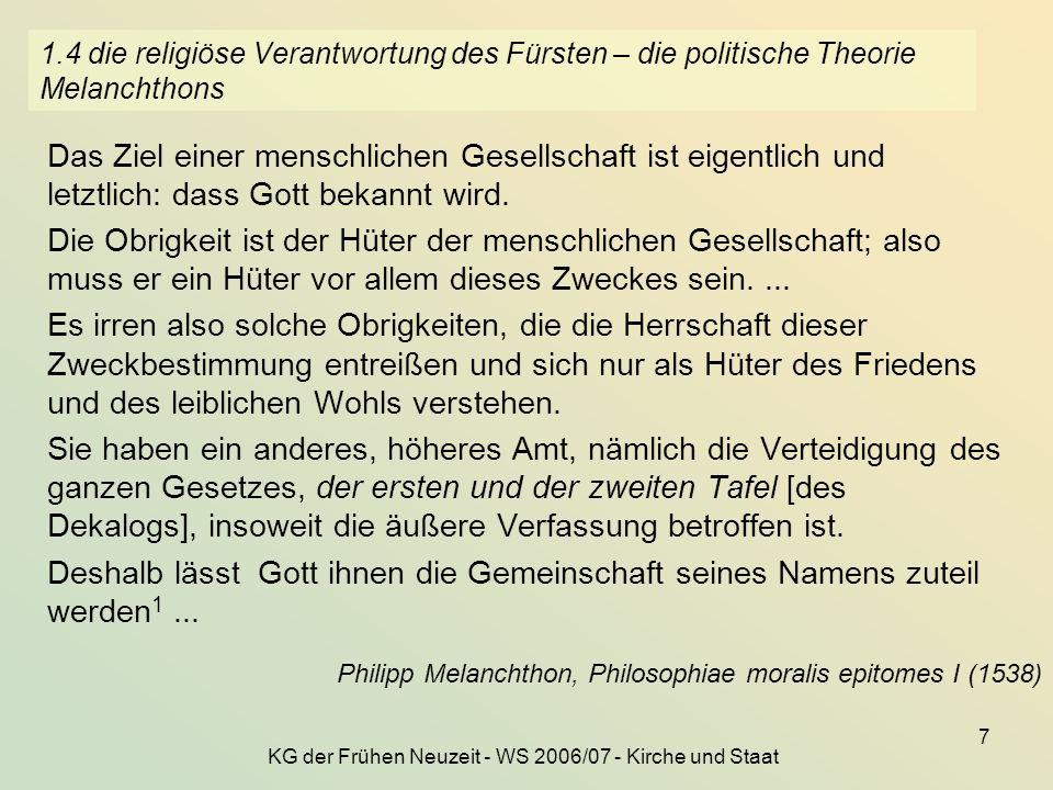 KG der Frühen Neuzeit - WS 2006/07 - Kirche und Staat