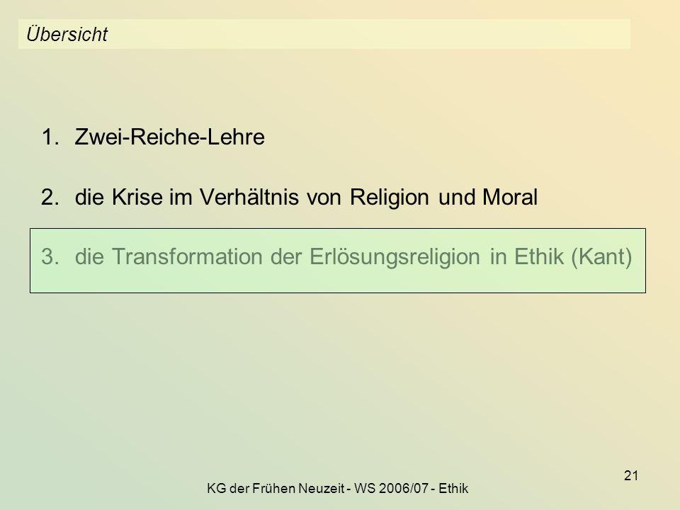 KG der Frühen Neuzeit - WS 2006/07 - Ethik