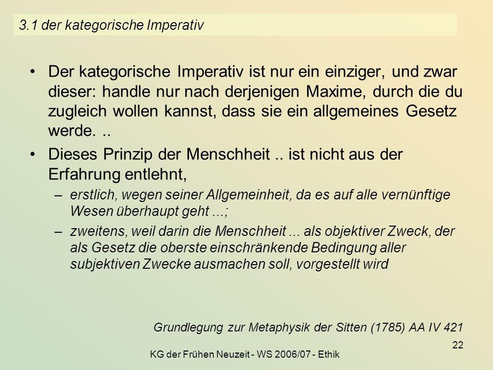 3.1 der kategorische Imperativ