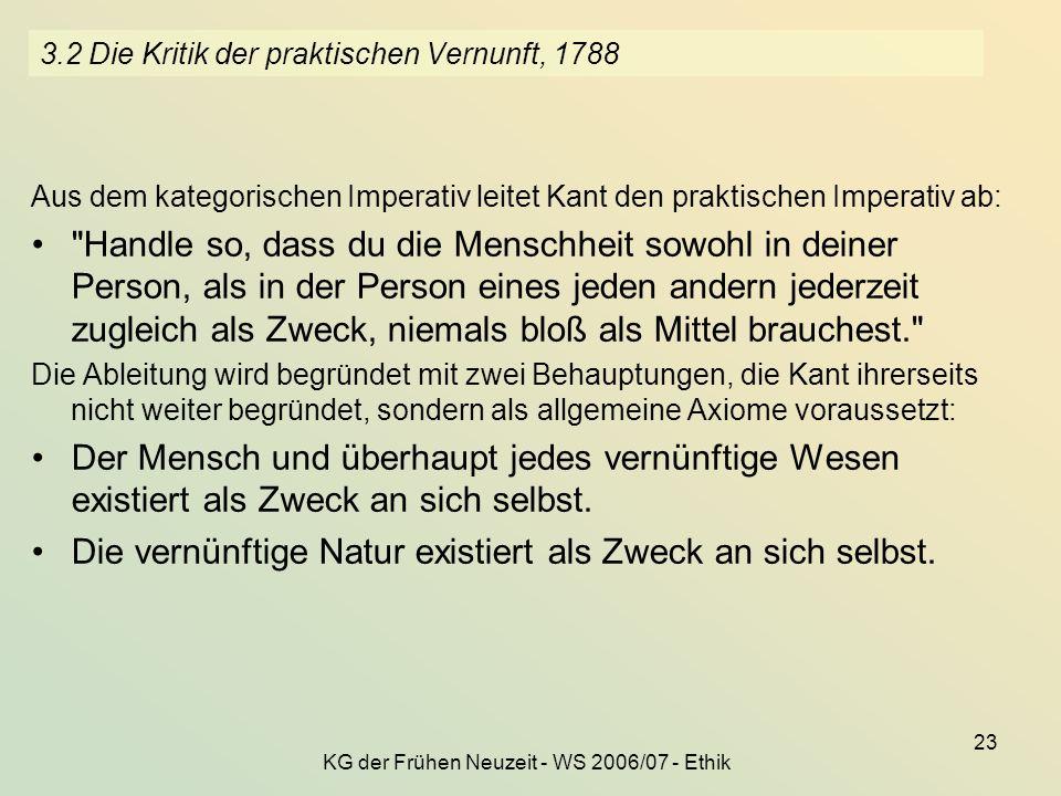 3.2 Die Kritik der praktischen Vernunft, 1788
