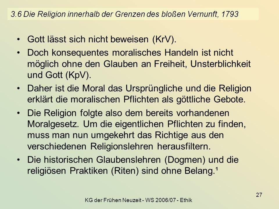 3.6 Die Religion innerhalb der Grenzen des bloßen Vernunft, 1793
