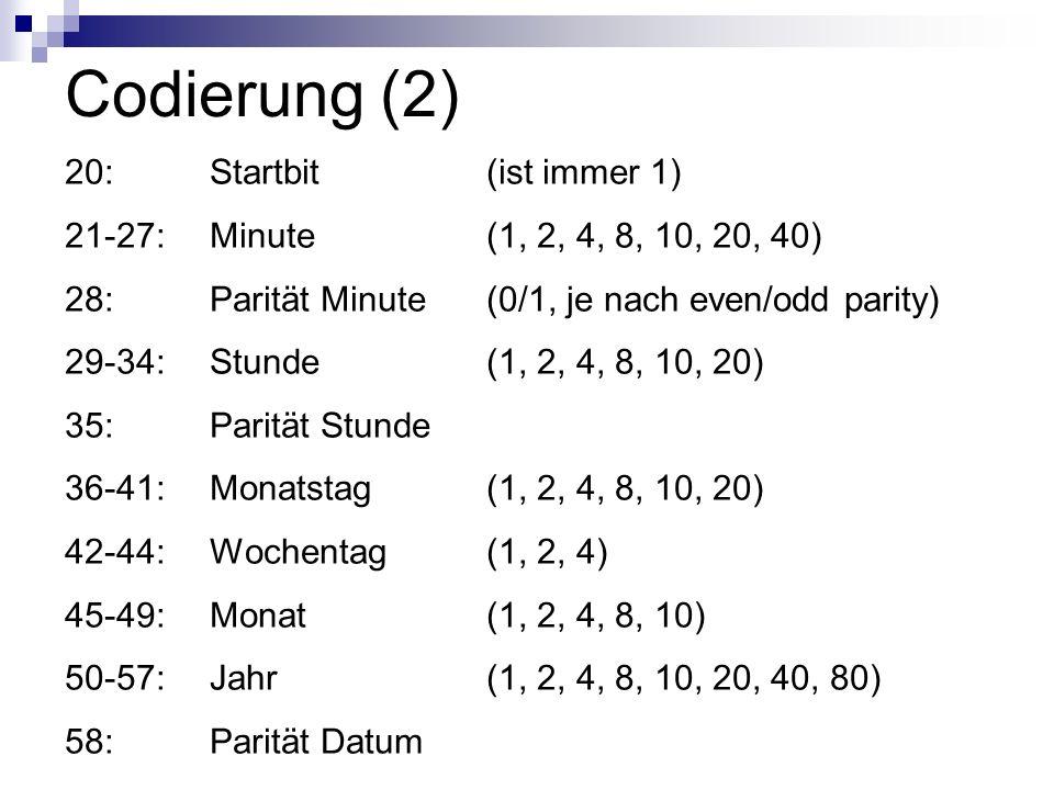 Codierung (2) 20: Startbit (ist immer 1)