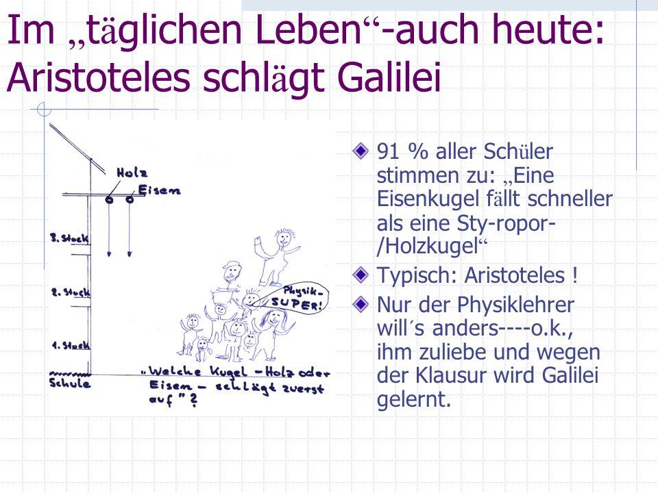 """Im """"täglichen Leben -auch heute: Aristoteles schlägt Galilei"""