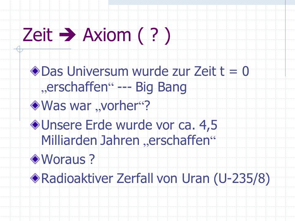"""Zeit  Axiom ( ) Das Universum wurde zur Zeit t = 0 """"erschaffen --- Big Bang. Was war """"vorher"""
