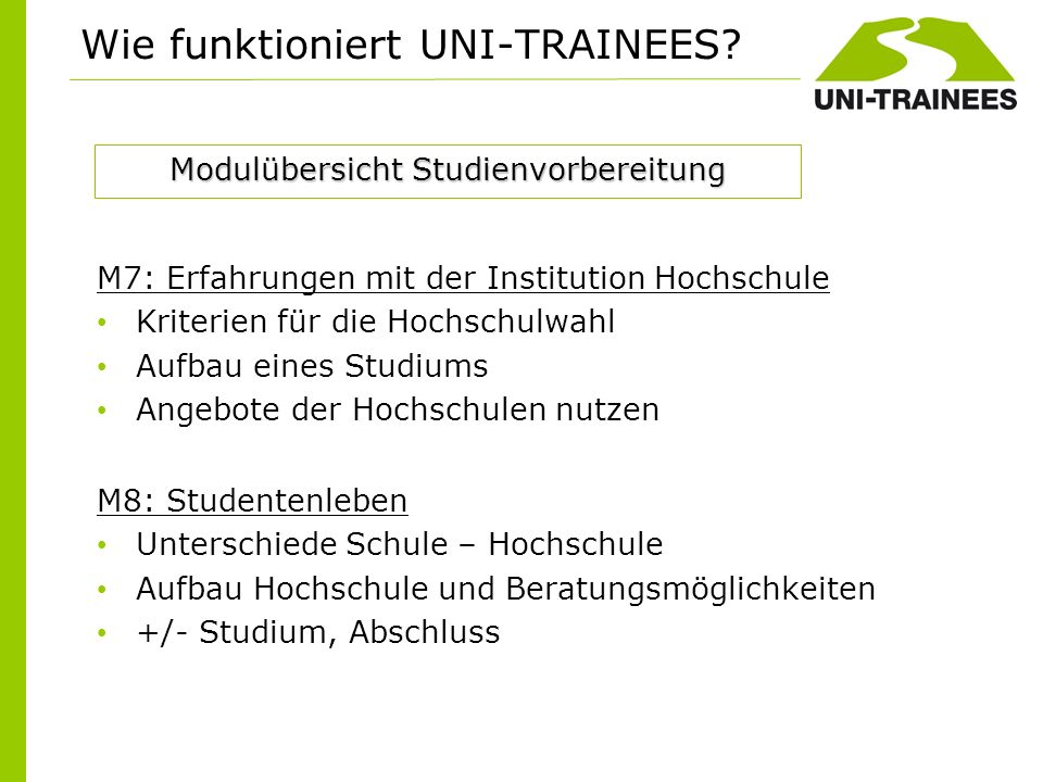Wie funktioniert UNI-TRAINEES