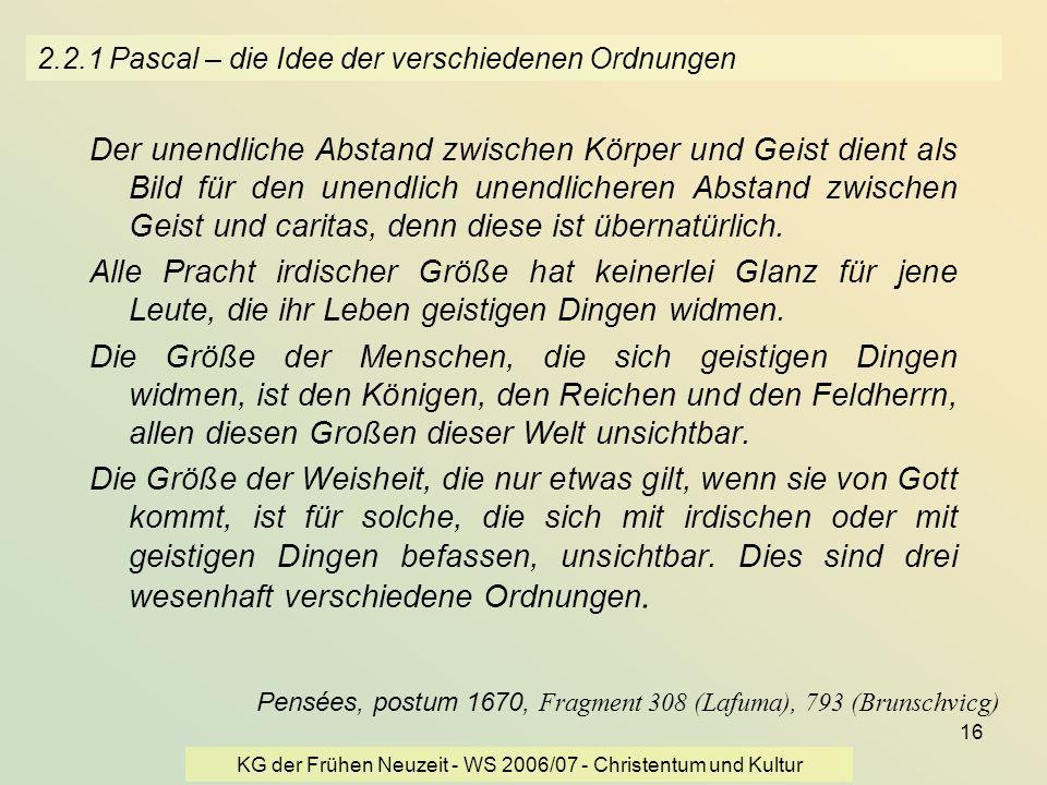 2.2.1 Pascal – die Idee der verschiedenen Ordnungen