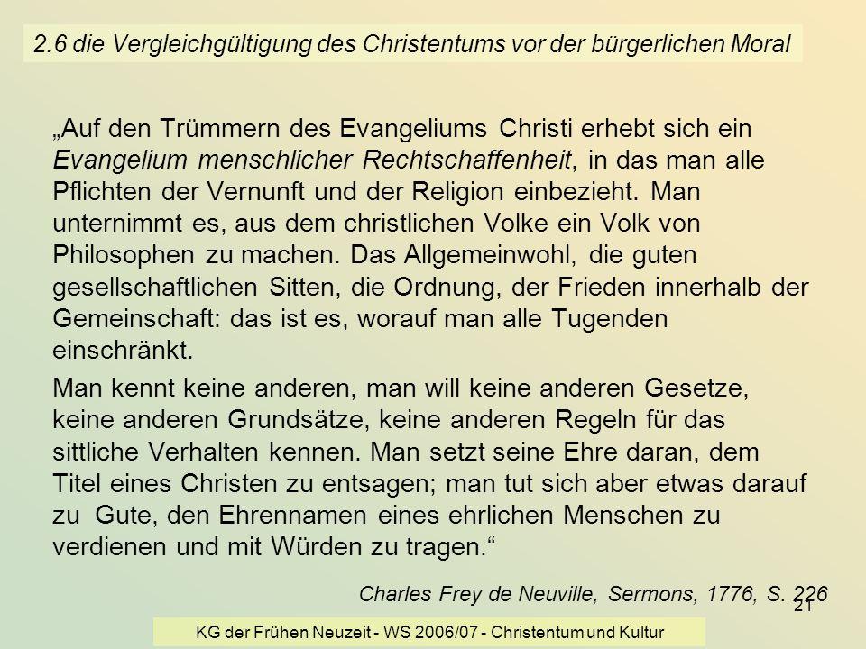 2.6 die Vergleichgültigung des Christentums vor der bürgerlichen Moral