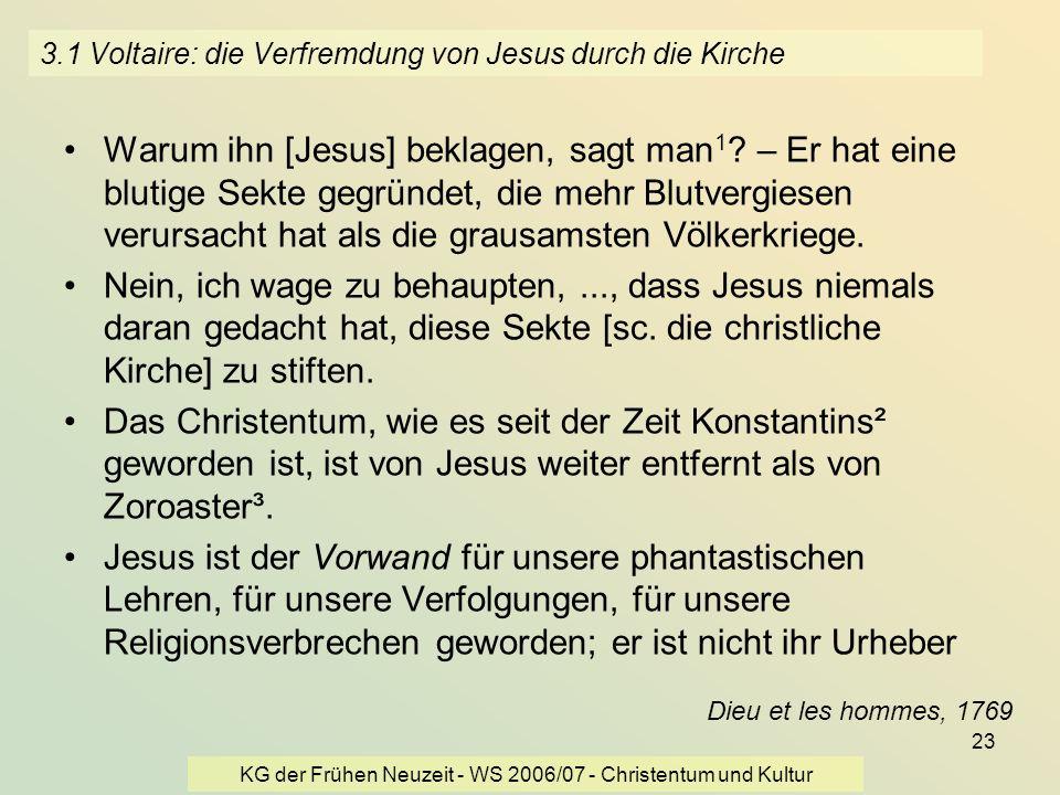 3.1 Voltaire: die Verfremdung von Jesus durch die Kirche