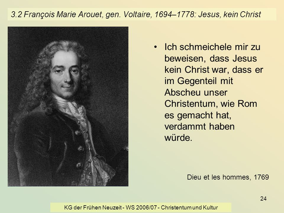 KG der Frühen Neuzeit - WS 2006/07 - Christentum und Kultur
