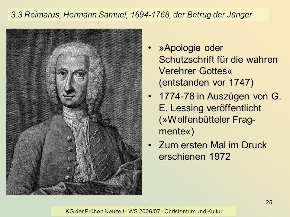 3.3 Reimarus, Hermann Samuel, 1694-1768, der Betrug der Jünger