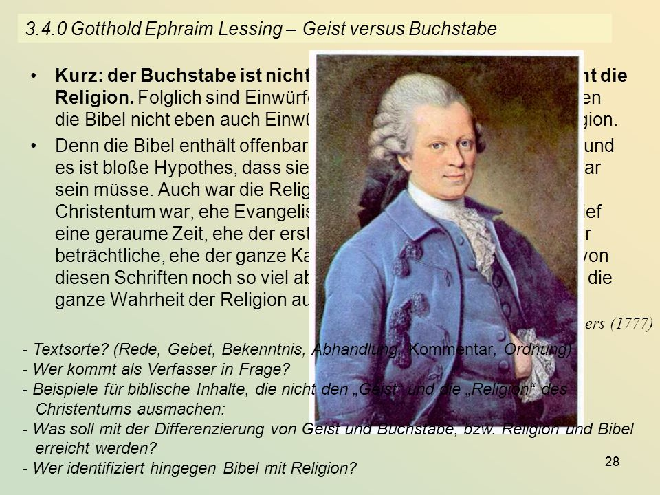 3.4.0 Gotthold Ephraim Lessing – Geist versus Buchstabe