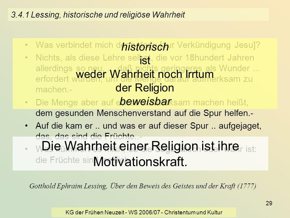 3.4.1 Lessing, historische und religiöse Wahrheit