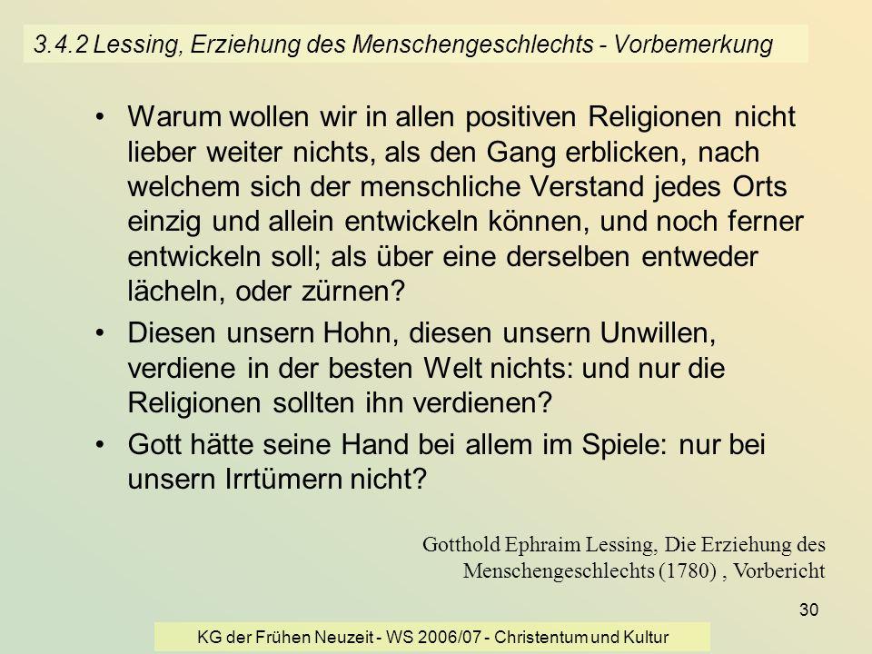 3.4.2 Lessing, Erziehung des Menschengeschlechts - Vorbemerkung