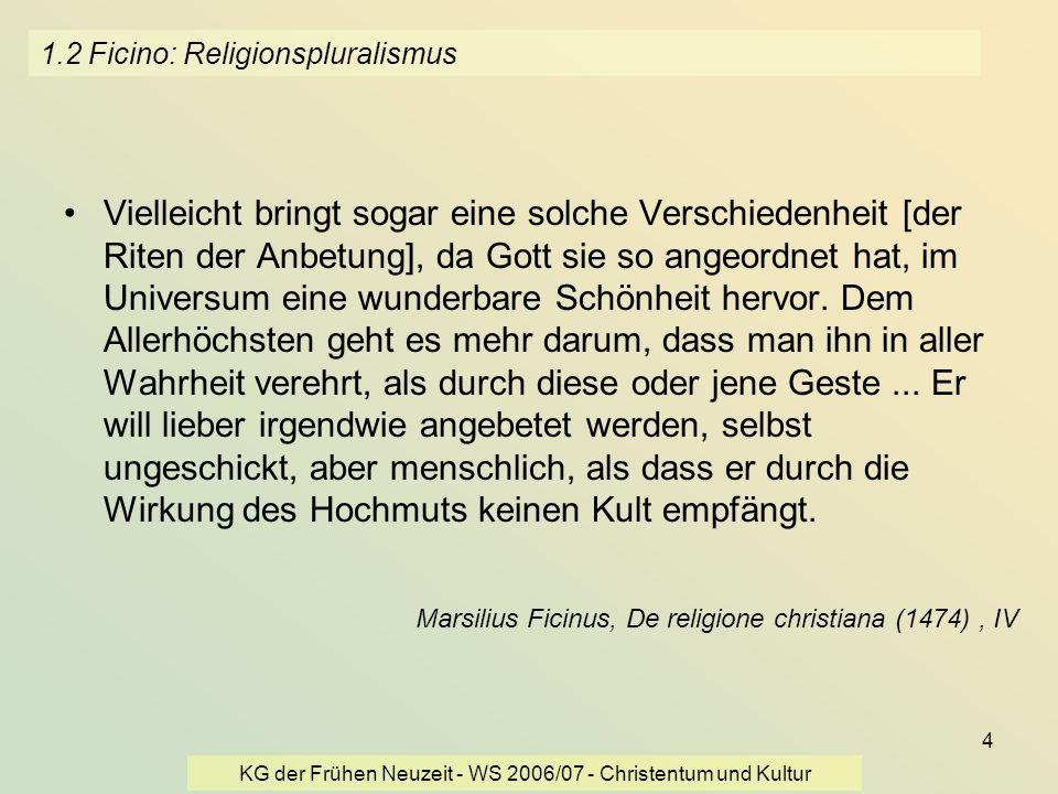 1.2 Ficino: Religionspluralismus