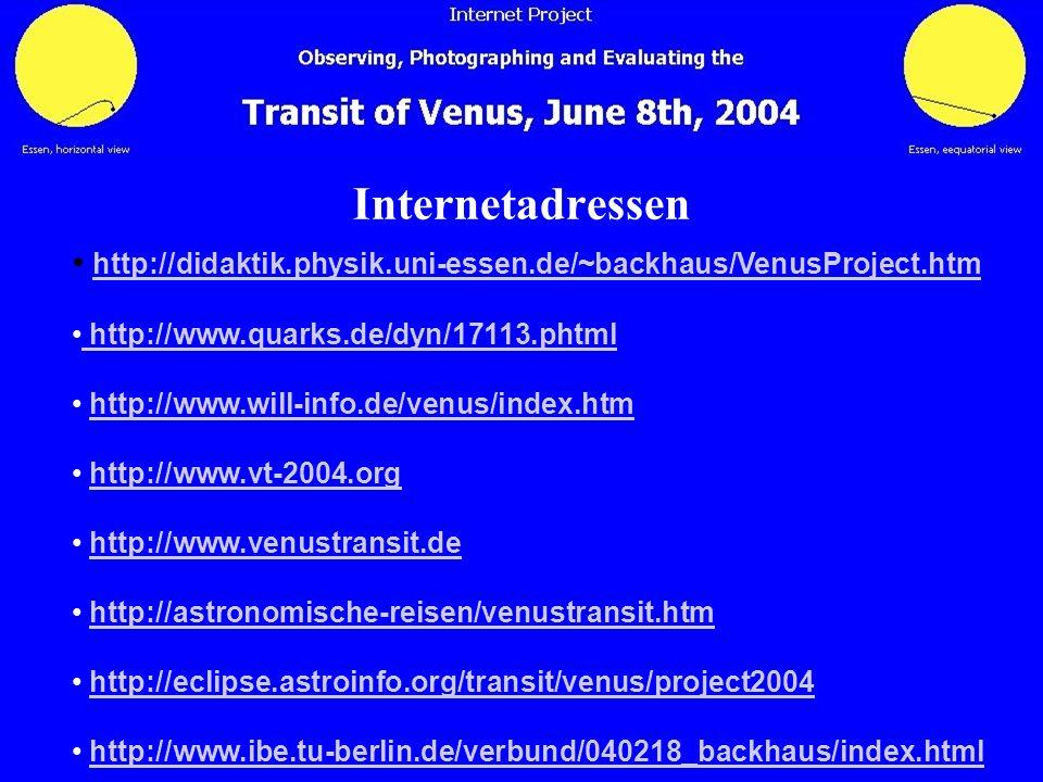 Internetadressen http://didaktik.physik.uni-essen.de/~backhaus/VenusProject.htm. http://www.quarks.de/dyn/17113.phtml.