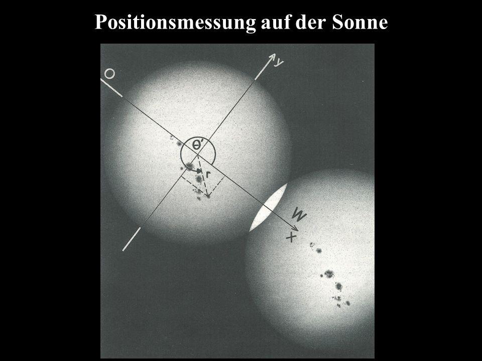 Positionsmessung auf der Sonne