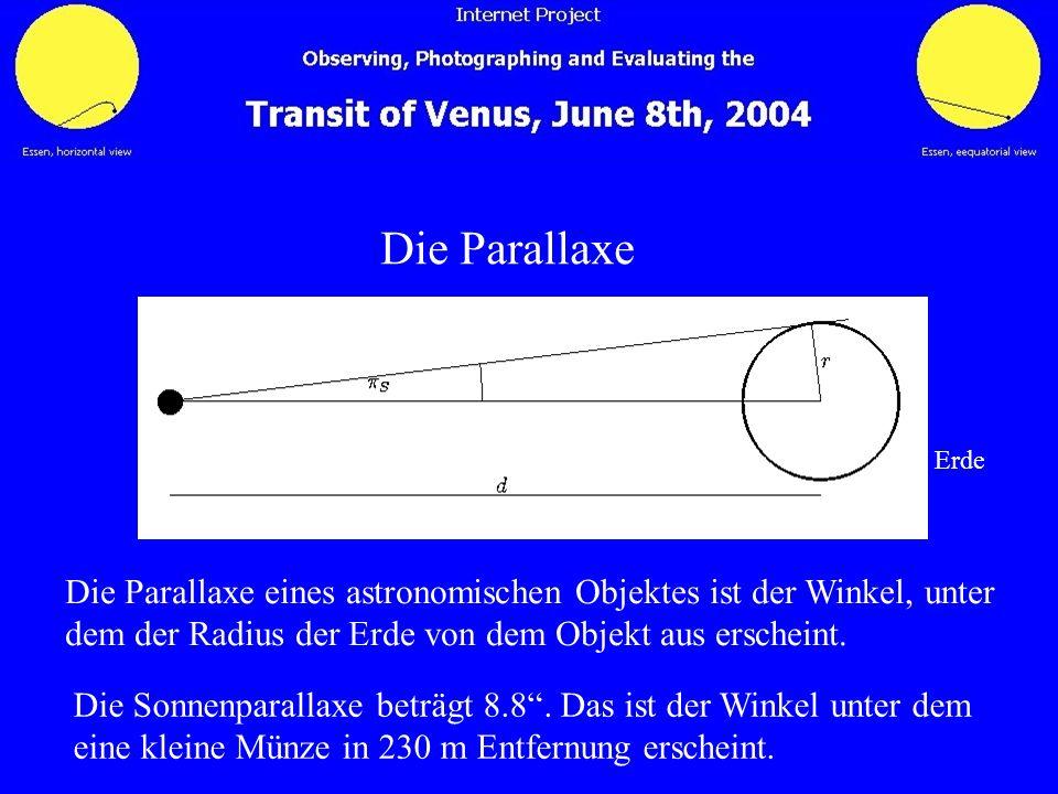 Die Parallaxe Erde. Die Parallaxe eines astronomischen Objektes ist der Winkel, unter. dem der Radius der Erde von dem Objekt aus erscheint.