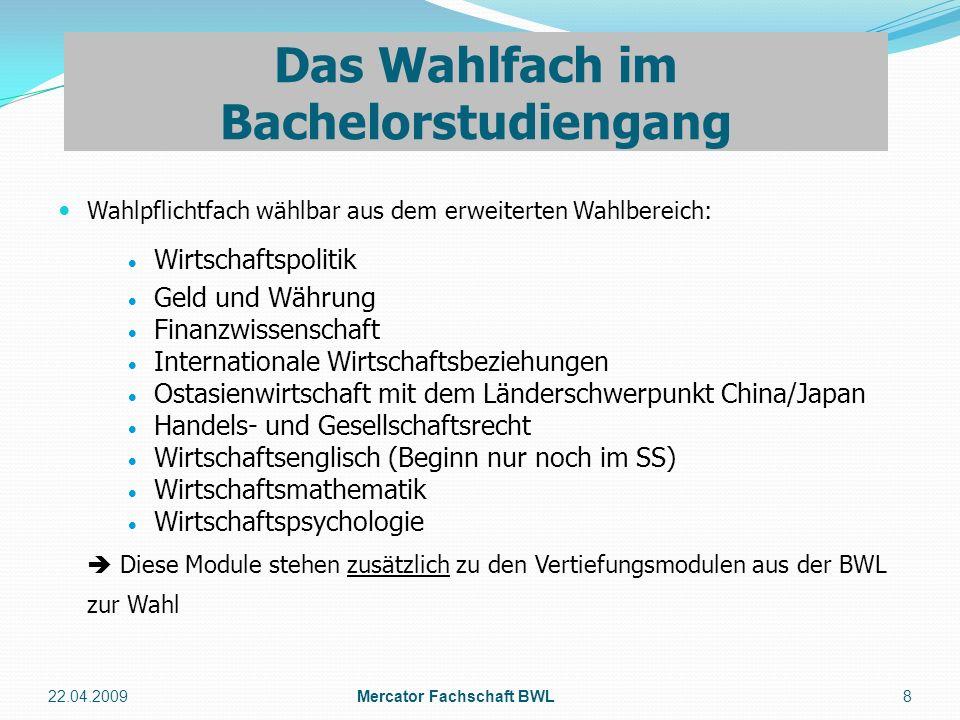 Das Wahlfach im Bachelorstudiengang Mercator Fachschaft BWL