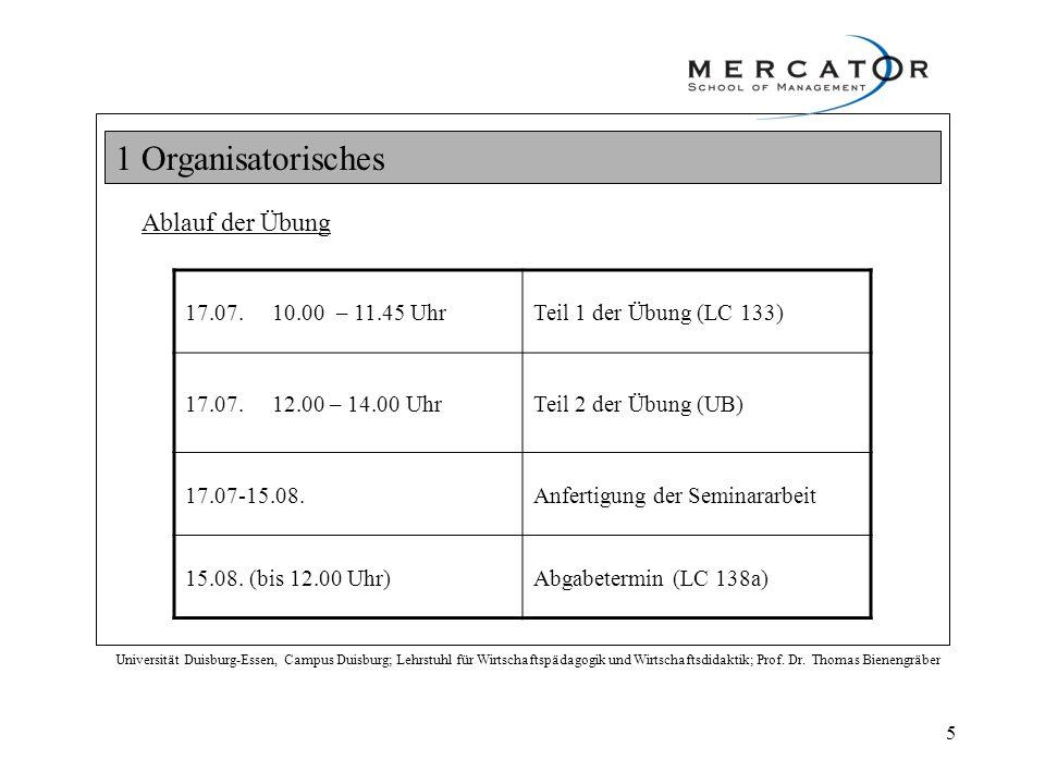 1 Organisatorisches Ablauf der Übung 17.07. 10.00 – 11.45 Uhr