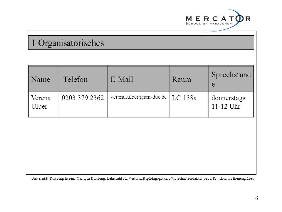 1 Organisatorisches Name E-Mail Raum Sprechstunde Verena Ulber