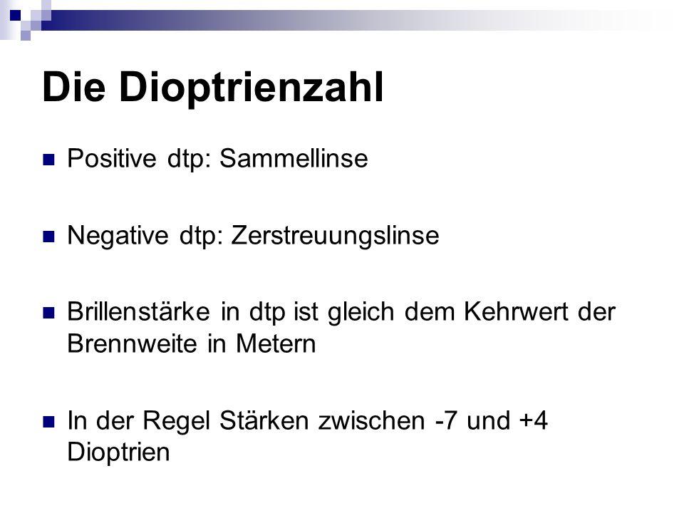 Die Dioptrienzahl Positive dtp: Sammellinse