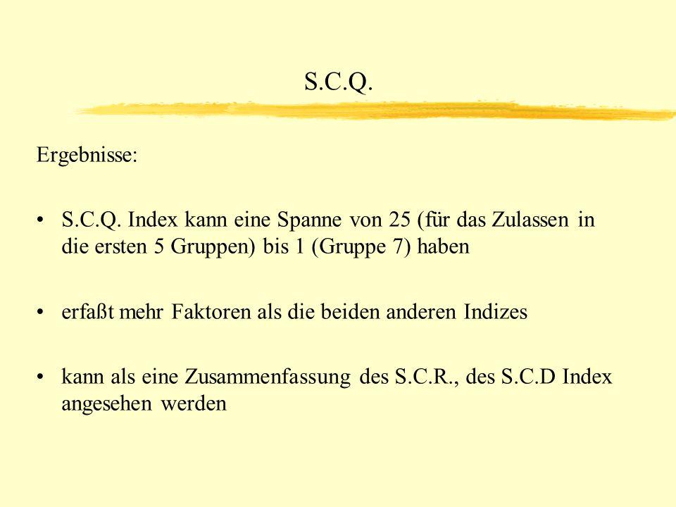 S.C.Q. Ergebnisse: S.C.Q. Index kann eine Spanne von 25 (für das Zulassen in die ersten 5 Gruppen) bis 1 (Gruppe 7) haben.