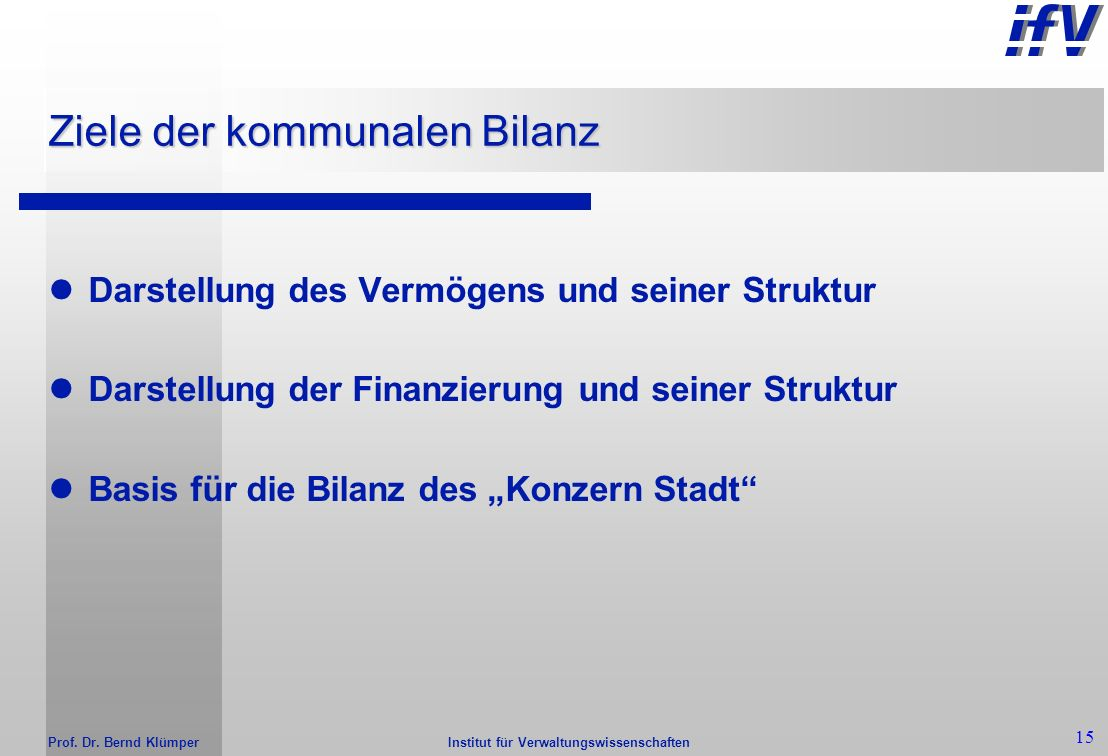 Ziele der kommunalen Bilanz