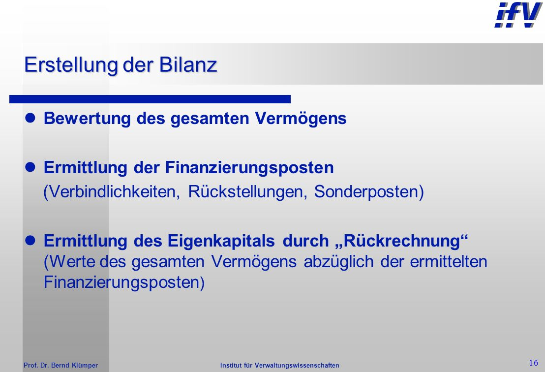 Erstellung der Bilanz Bewertung des gesamten Vermögens