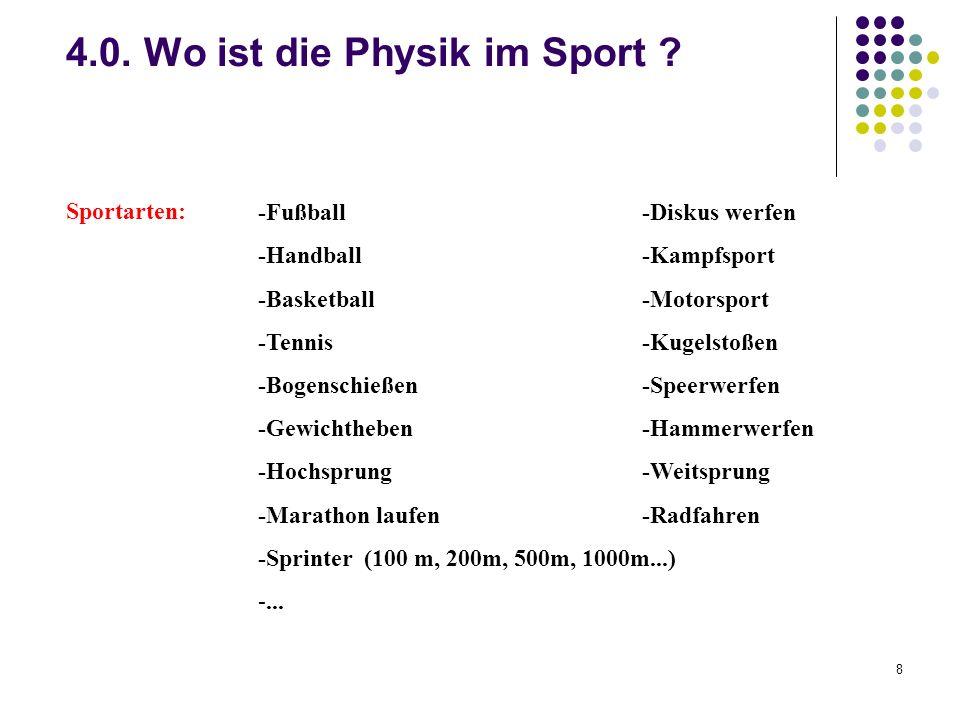4.0. Wo ist die Physik im Sport