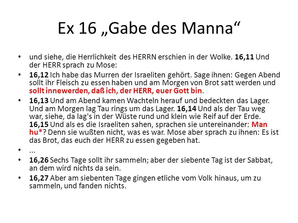 """Ex 16 """"Gabe des Manna und siehe, die Herrlichkeit des HERRN erschien in der Wolke. 16,11 Und der HERR sprach zu Mose:"""