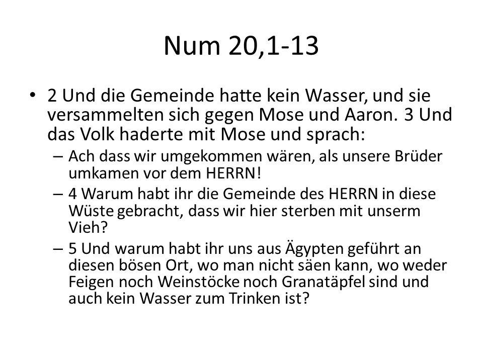 Num 20,1-13 2 Und die Gemeinde hatte kein Wasser, und sie versammelten sich gegen Mose und Aaron. 3 Und das Volk haderte mit Mose und sprach: