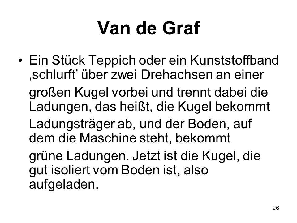 Van de Graf Ein Stück Teppich oder ein Kunststoffband 'schlurft' über zwei Drehachsen an einer.