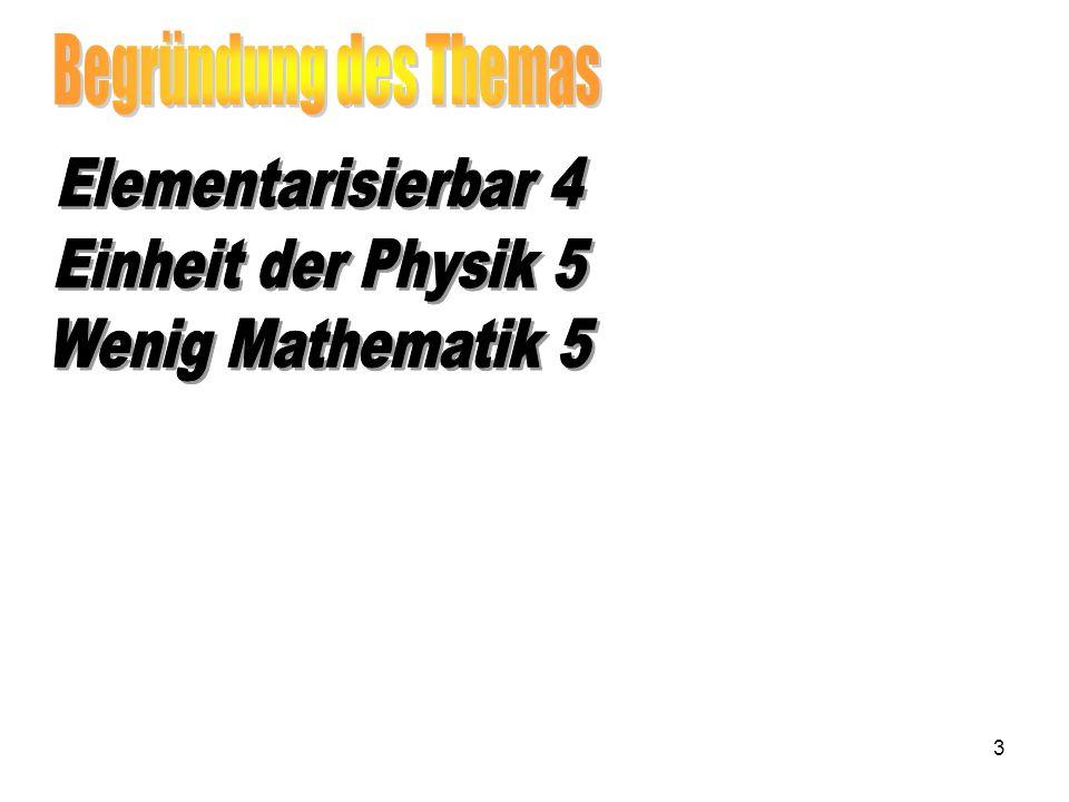 Begründung des Themas Elementarisierbar 4 Einheit der Physik 5 Wenig Mathematik 5
