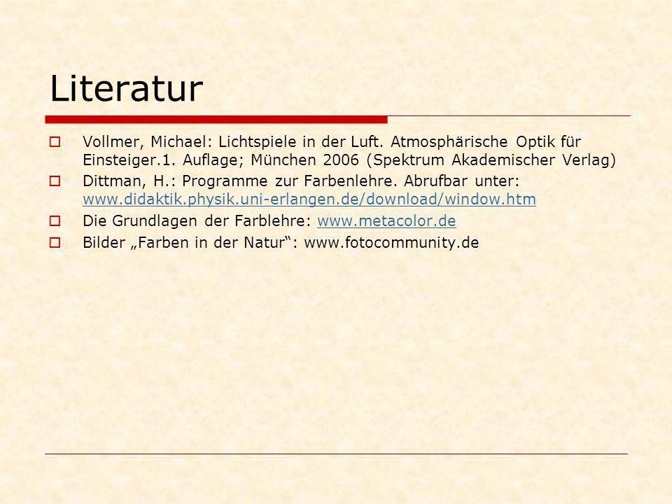 LiteraturVollmer, Michael: Lichtspiele in der Luft. Atmosphärische Optik für Einsteiger.1. Auflage; München 2006 (Spektrum Akademischer Verlag)