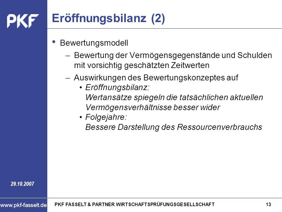 Eröffnungsbilanz (2) Bewertungsmodell
