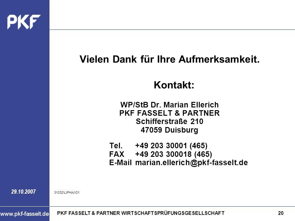Vielen Dank für Ihre Aufmerksamkeit. WP/StB Dr. Marian Ellerich