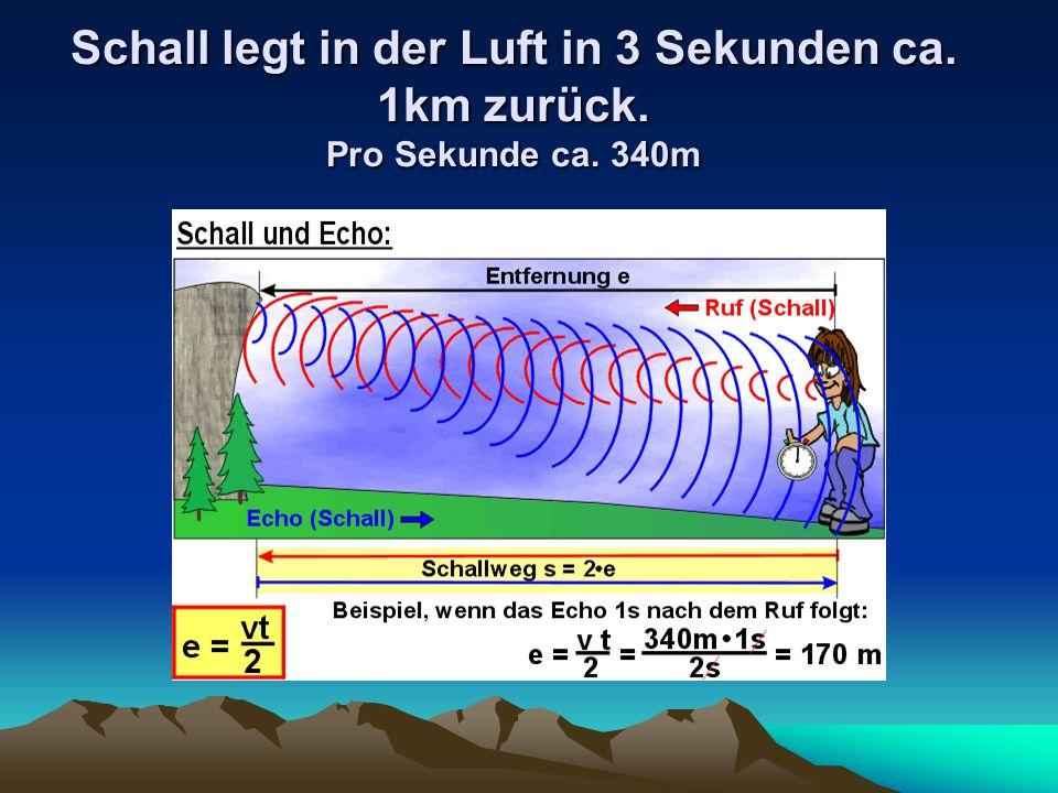 Schall legt in der Luft in 3 Sekunden ca. 1km zurück. Pro Sekunde ca