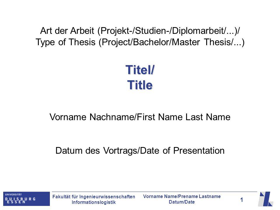 Art der Arbeit (Projekt-/Studien-/Diplomarbeit/