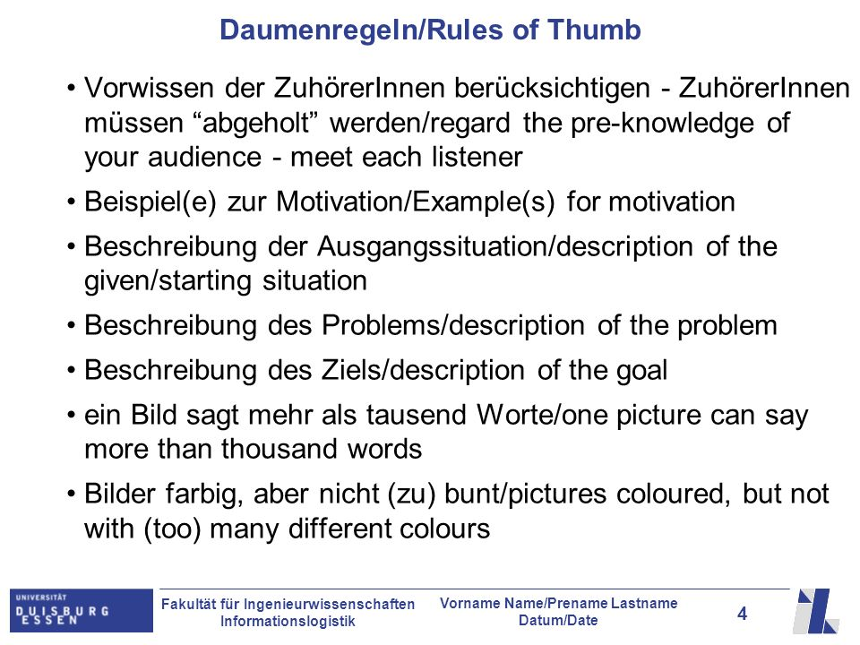 Daumenregeln/Rules of Thumb