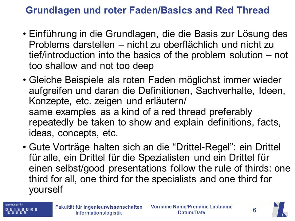 Grundlagen und roter Faden/Basics and Red Thread