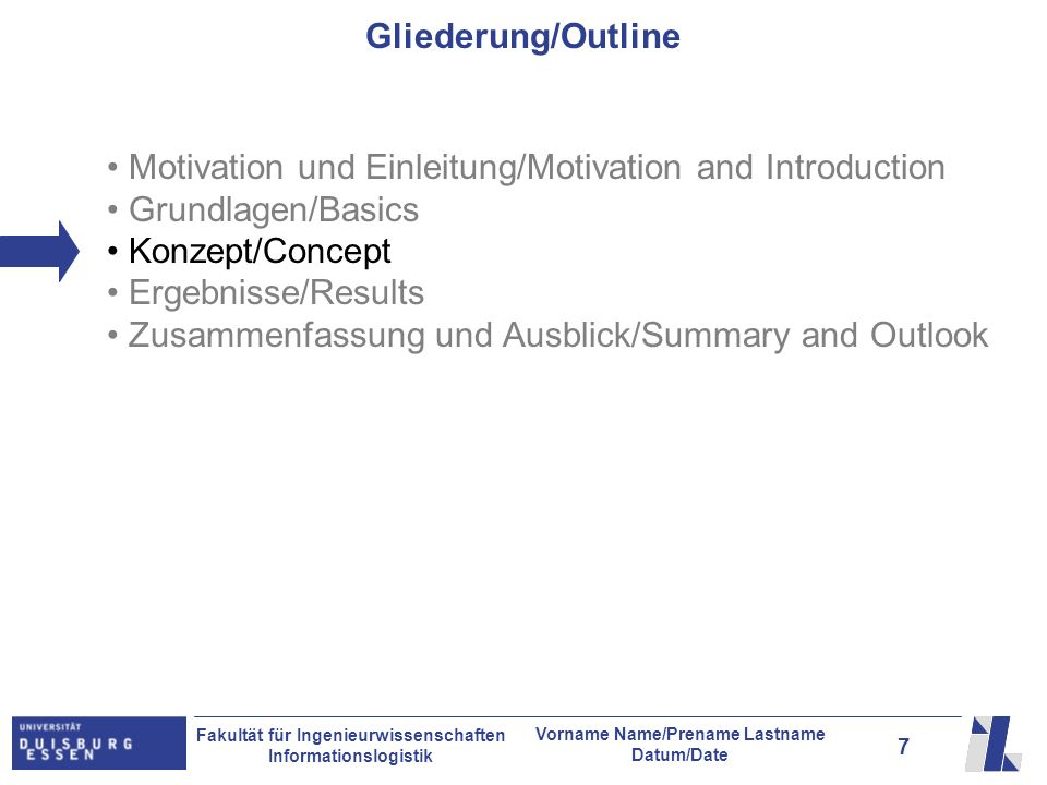 Gliederung/Outline Motivation und Einleitung/Motivation and Introduction. Grundlagen/Basics. Konzept/Concept.