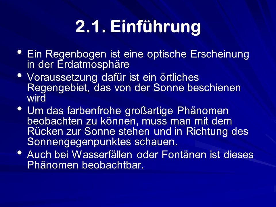 2.1. Einführung Ein Regenbogen ist eine optische Erscheinung in der Erdatmosphäre.