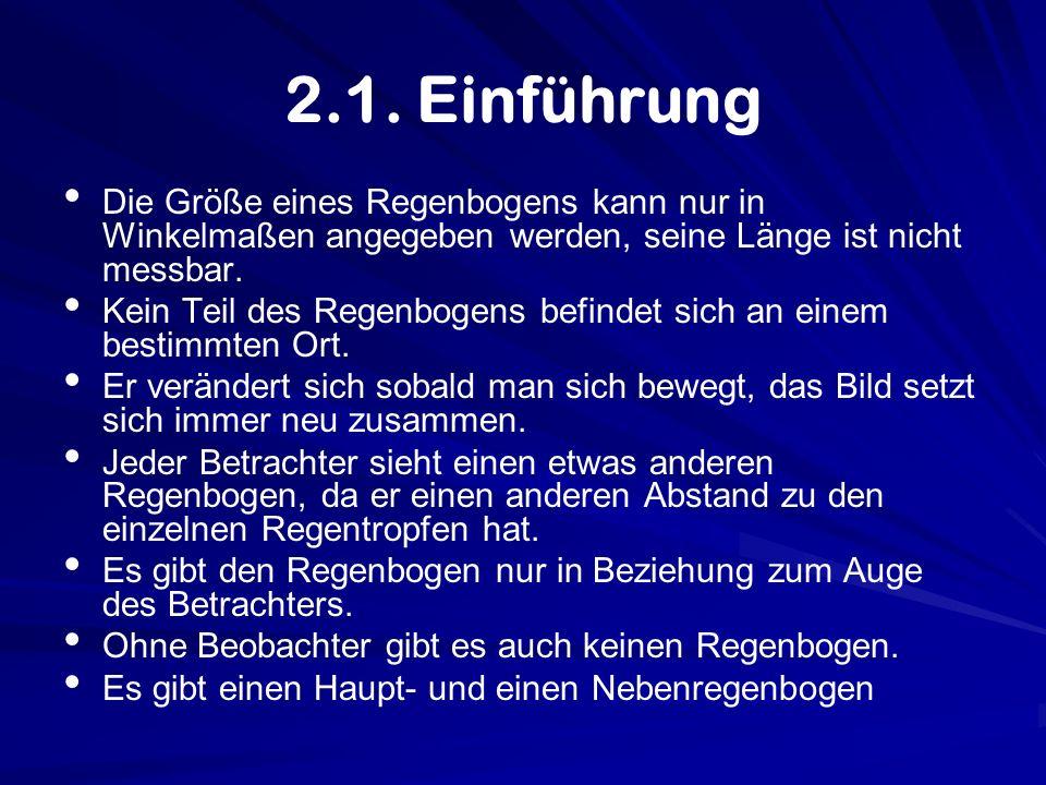 2.1. Einführung Die Größe eines Regenbogens kann nur in Winkelmaßen angegeben werden, seine Länge ist nicht messbar.