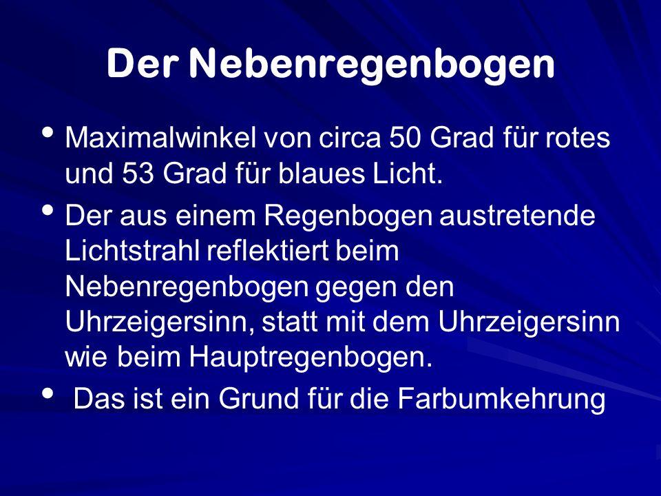 Der Nebenregenbogen Maximalwinkel von circa 50 Grad für rotes und 53 Grad für blaues Licht.