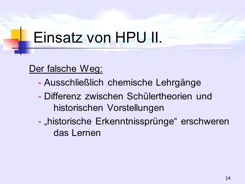 Einsatz von HPU II. Der falsche Weg: