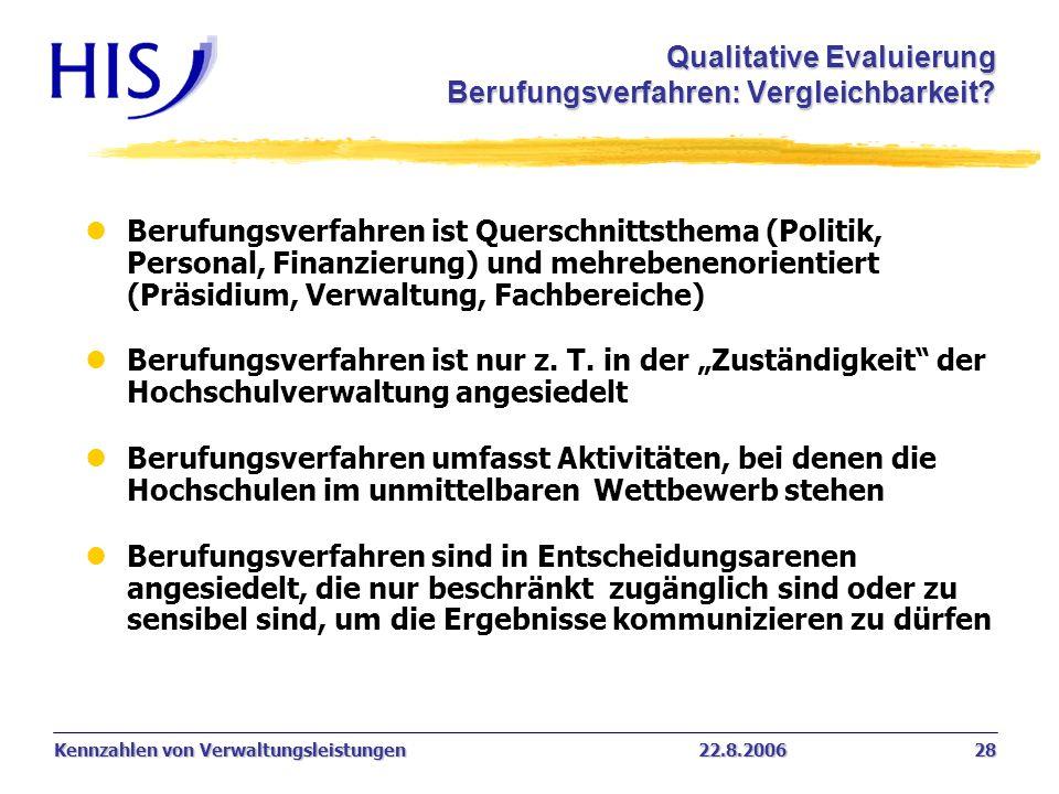 Qualitative Evaluierung Berufungsverfahren: Vergleichbarkeit