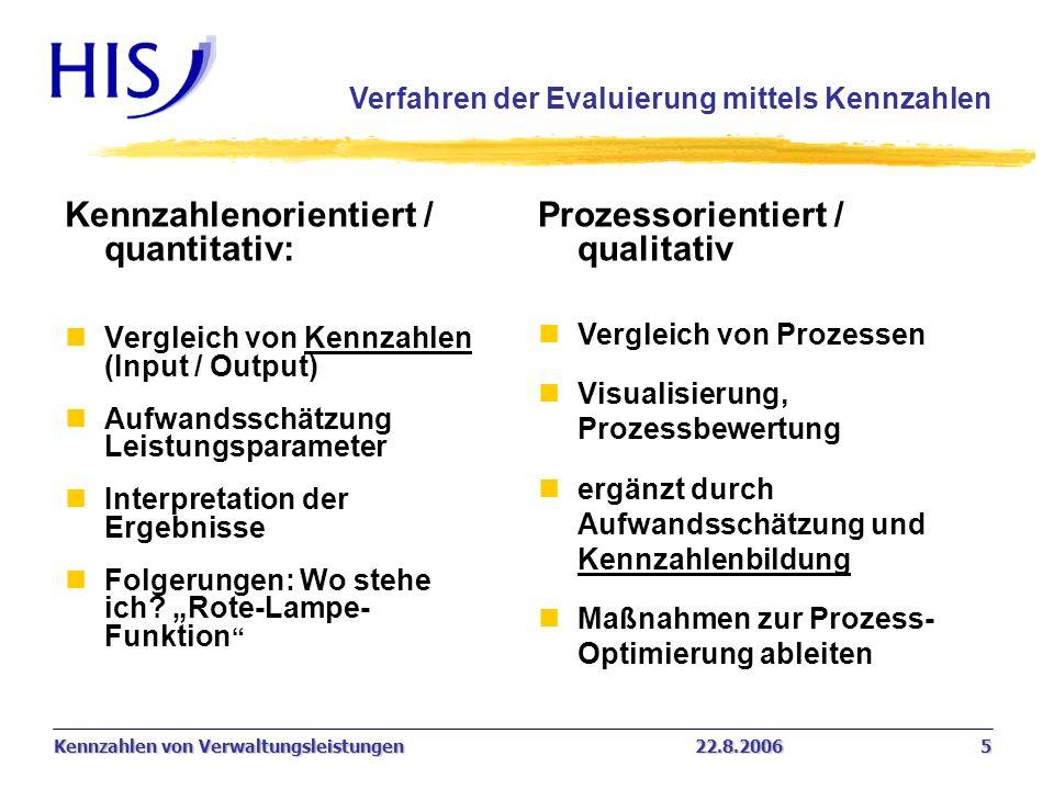 Kennzahlenorientiert / quantitativ: Prozessorientiert / qualitativ